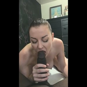 Brunette fucked by thick black dick
