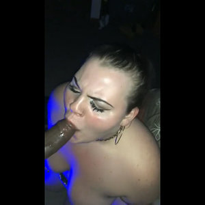 Chubby white lady fucks and swallows cum