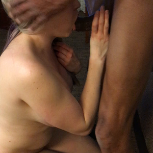 Amateur blonde milf sucking black cock