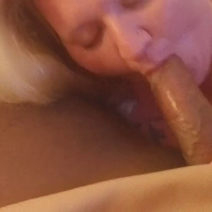 Chubby mom practicing cock sucking