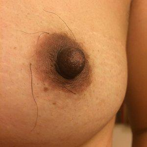 A hairy nipple to suck