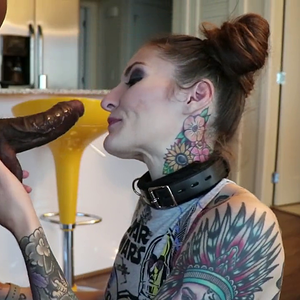 Tattooed slut deepthroat blowjob