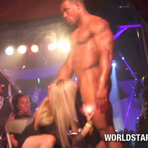 Hot Blonde Sucking Strippers Huge Black Cock in front of a crowd