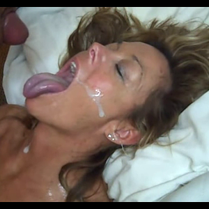 Huge Cumshot all over her face