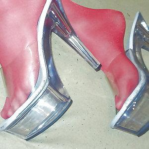 Clear Mules with red stockings