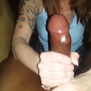 Black Cock cum in white hands