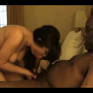 Asian Wife blowing and rimming black guy