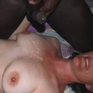 Black cum in my tits