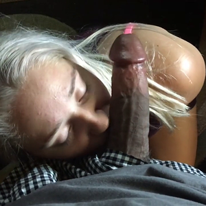 Cute blonde works a black cock