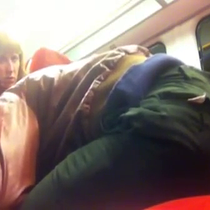 Hubby Film wife on train with stranger